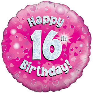 "18"" Foil Age 16 Balloon - Pink & Silver - The Ultimate Balloon & Party Shop"