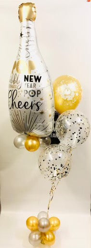 New Years Champagne Confetti Balloon Bouquet - The Ultimate Balloon & Party Shop