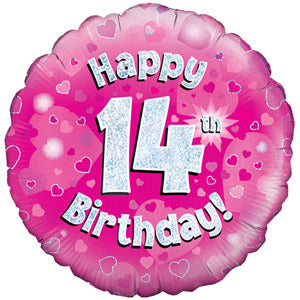 "18"" Foil Age 14 Balloon - Pink - The Ultimate Balloon & Party Shop"