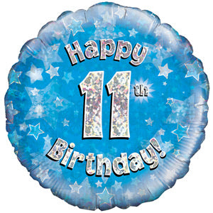"18"" Foil Age 11 Balloon - Blue - The Ultimate Balloon & Party Shop"