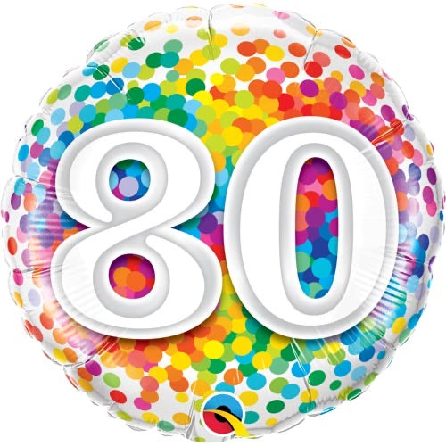 "18"" Foil Age 80 Multicoloured Spots - The Ultimate Balloon & Party Shop"