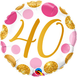 "18"" Foil Age 40 Balloon - Pink/Gold Dots - The Ultimate Balloon & Party Shop"