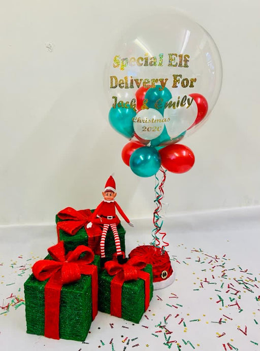 Naughty Elf Balloon Bunch - Bubble message balloon with Naughty Elf