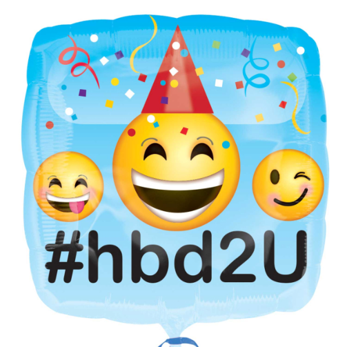 "18"" Foil Emoji Printed Balloon - Happy Birthday - The Ultimate Balloon & Party Shop"