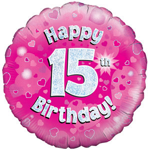 "18"" Foil Age 15 Balloon - Pink - The Ultimate Balloon & Party Shop"
