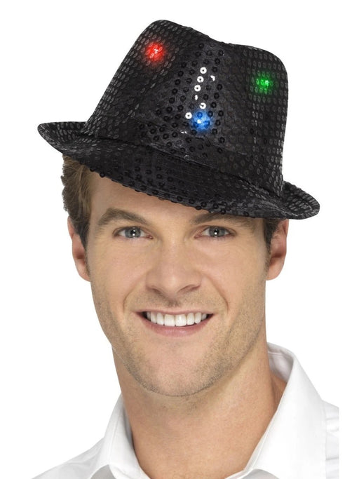 Light Up Sequin Trilby - Black - The Ultimate Balloon & Party Shop