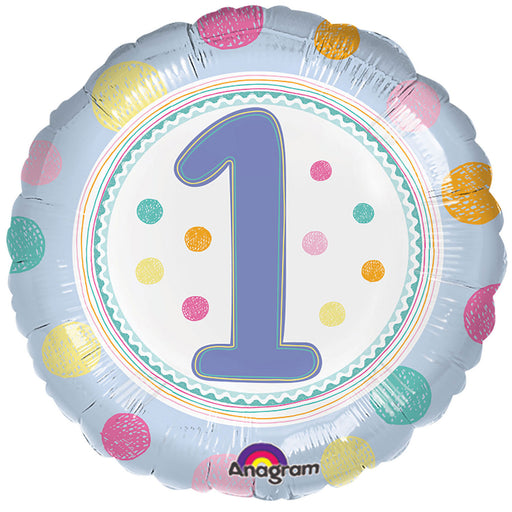 "18"" Foil 1st Birthday Balloon - Lilac/Lblue Dots - The Ultimate Balloon & Party Shop"