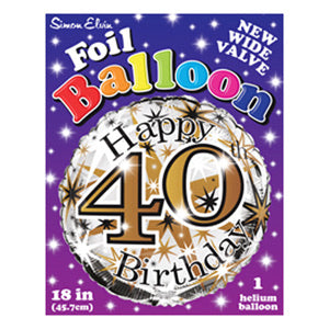 "18"" Foil Age 40 Balloon - Gold Celebrate - The Ultimate Balloon & Party Shop"