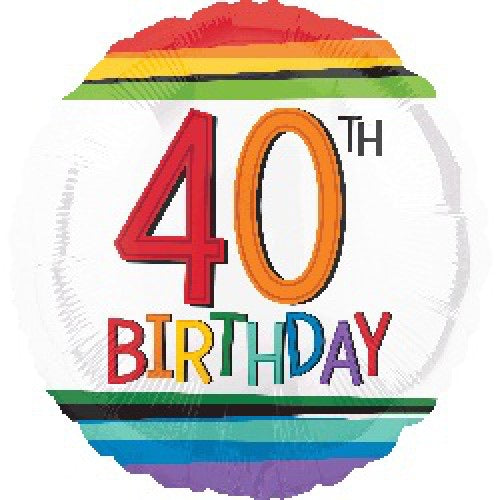 "18"" Foil Age 40 Balloon - Rainbow - The Ultimate Balloon & Party Shop"
