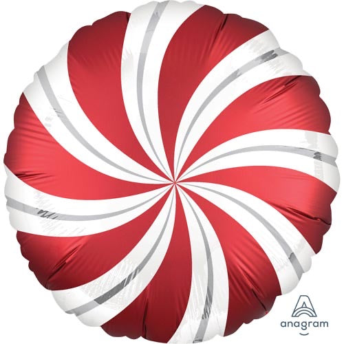 "18"" Foil Christmas Balloon - Swirl Candy Red - The Ultimate Balloon & Party Shop"