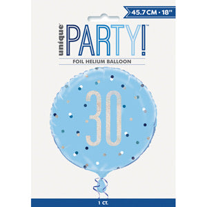 "18"" Foil Age 30 Balloon - Blue Dots - The Ultimate Balloon & Party Shop"