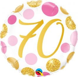 "18"" Foil Age 70 Birthday Balloon - Pink/Gold Dots - The Ultimate Balloon & Party Shop"