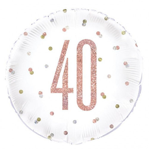"18"" Foil Age 40 Balloon - Rose Gold Dots - The Ultimate Balloon & Party Shop"