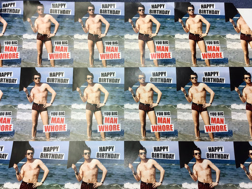 Birthday Gift Wrap - Happy Birthday Man Wh*re - The Ultimate Balloon & Party Shop
