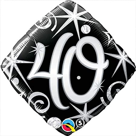 "18"" Foil Age 40 Balloon - Black/White Diamond - The Ultimate Balloon & Party Shop"