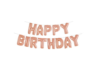 Happy Birthday Balloon Banner in Rose Gold - The Ultimate Balloon & Party Shop