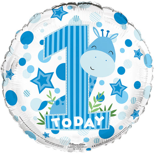 "18"" Foil 1st Birthday Balloon - Blue Giraffe - The Ultimate Balloon & Party Shop"
