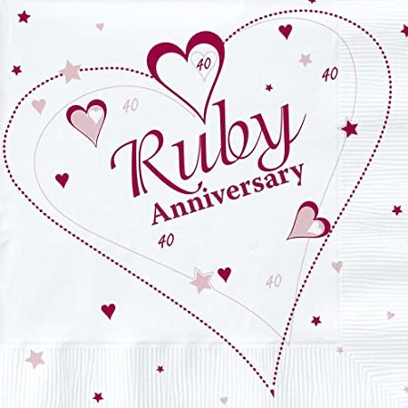 40th Ruby Anniversary Napkins - The Ultimate Balloon & Party Shop
