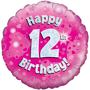 "18"" Foil Age 12 Balloon - Pink - The Ultimate Balloon & Party Shop"