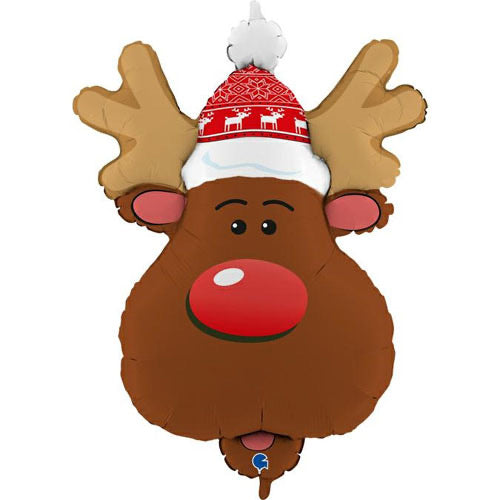 Supershape Foil Christmas Balloon - Reindeer Head - The Ultimate Balloon & Party Shop