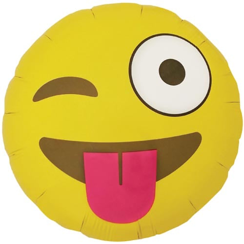 "18"" Foil Emoji Printed Balloon - Wink - The Ultimate Balloon & Party Shop"