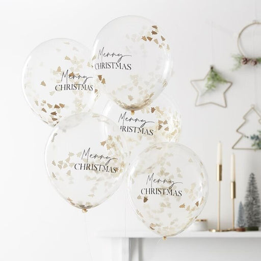 Christmas Confetti Balloons - Golden Trees - The Ultimate Balloon & Party Shop