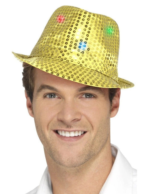 Light Up Sequin Trilby - Gold - The Ultimate Balloon & Party Shop