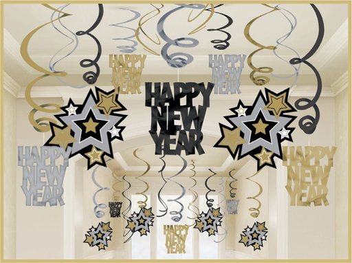 Happy New Year Swirl Dec - 30 pack. - The Ultimate Balloon & Party Shop