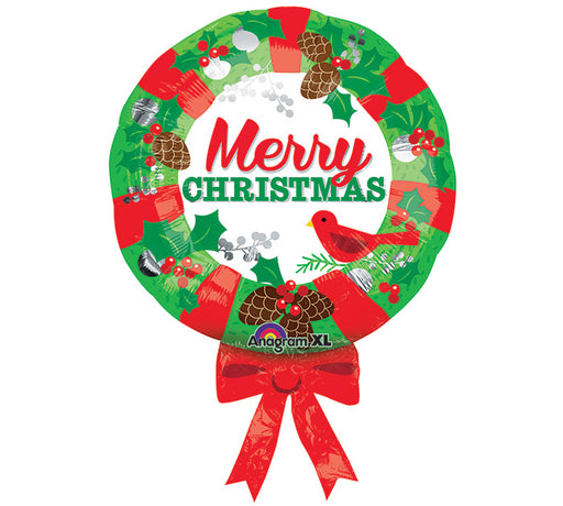 Supershape Foil Christmas Balloon - Christmas Wreath - The Ultimate Balloon & Party Shop