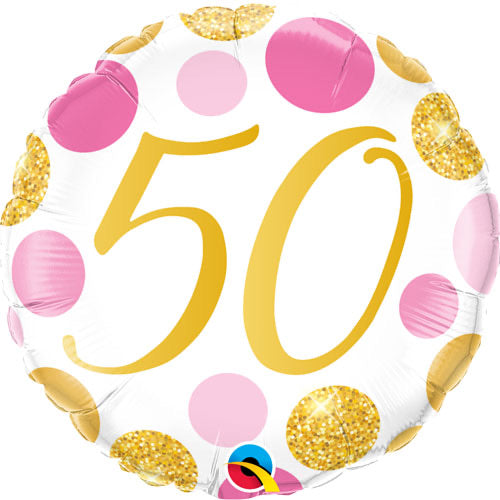 "18"" Foil Age 50 Balloon - Pink & Gold Dots - The Ultimate Balloon & Party Shop"