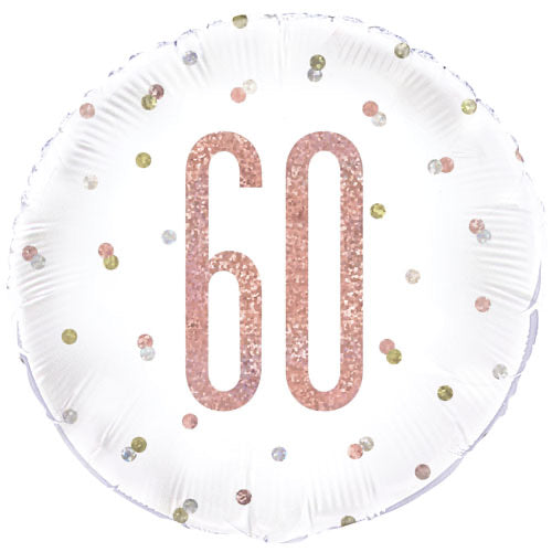 "18"" Foil Age 60 Balloon - Rose Gold Dots - The Ultimate Balloon & Party Shop"