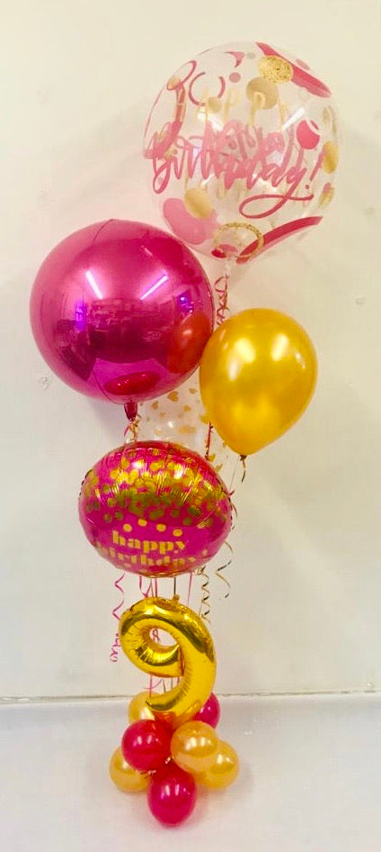 Age Birthday Orbz Display - Pink/Gold - The Ultimate Balloon & Party Shop