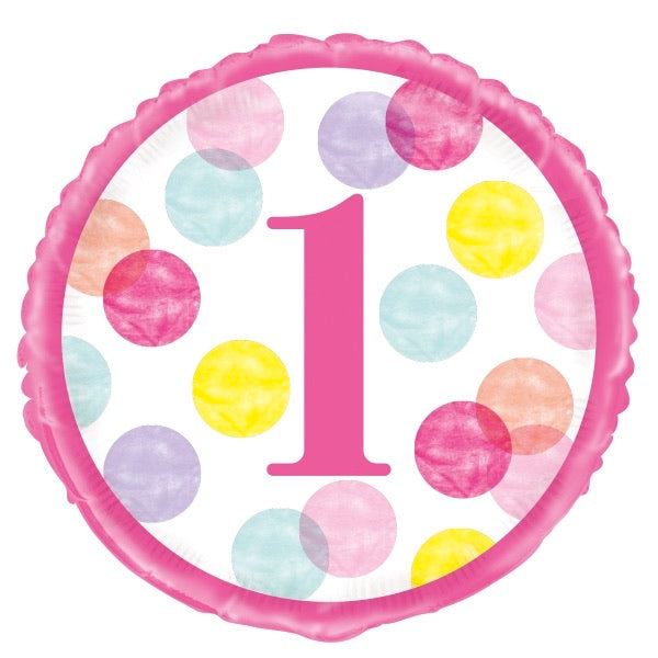 "18"" Foil 1st Birthday Balloon - Pink Dots - The Ultimate Balloon & Party Shop"