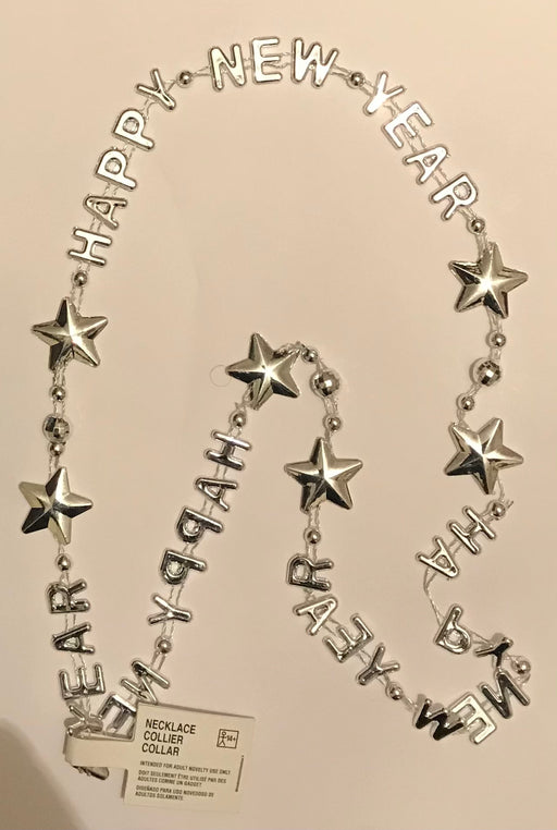 Silver Happy New Year Neclace - The Ultimate Balloon & Party Shop