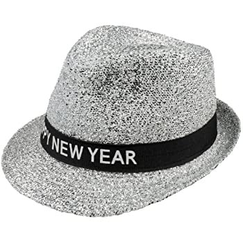 Silver Happy New Year Trilby - The Ultimate Balloon & Party Shop
