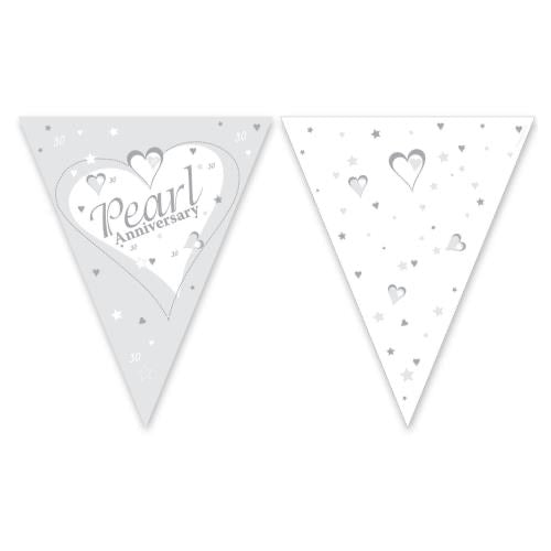30th Pearl Anniversary Bunting - Paper - The Ultimate Balloon & Party Shop