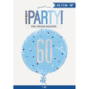 "18"" Foil Age 60 Balloon - Blue Dots - The Ultimate Balloon & Party Shop"