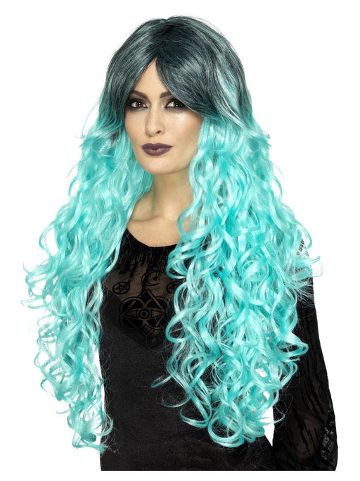 Dlx Gothic Glamour Wig - Teal - The Ultimate Balloon & Party Shop