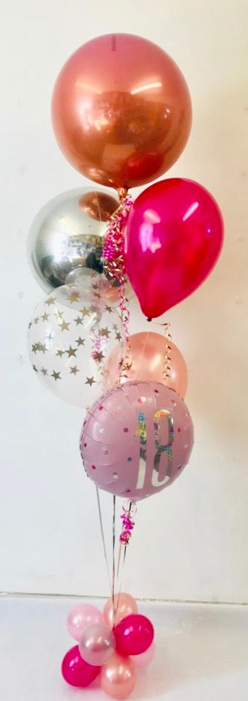 Age Birthday Orbz Display Silver/Pink Tones - The Ultimate Balloon & Party Shop