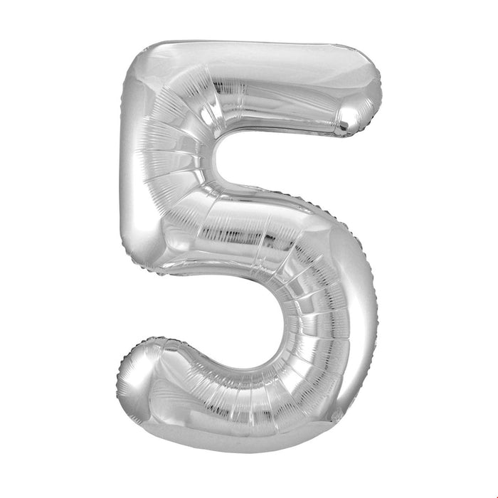 Number 5 Foil Balloon Silver