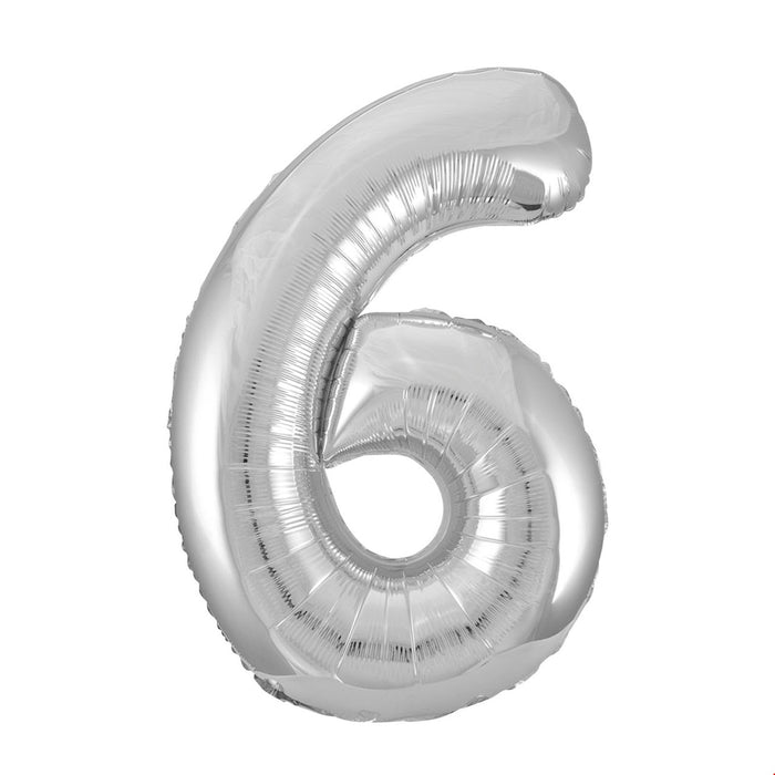 Number 6 Foil Balloon Silver - The Ultimate Party Shop