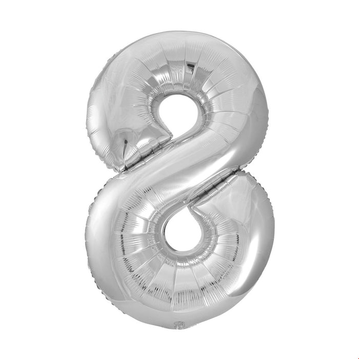Number 8 Foil Balloon Silver - The Ultimate Party Shop