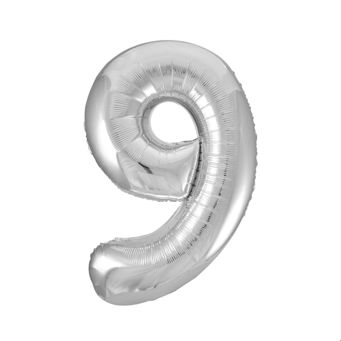 Number 9 Foil Balloon Silver - The Ultimate Party Shop