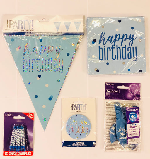 Happy Birthday Party Pack - Blue - The Ultimate Balloon & Party Shop