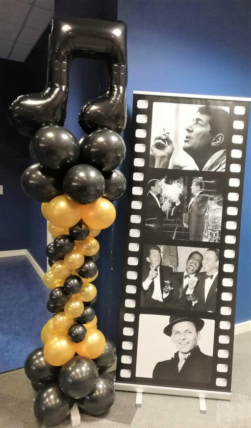 Spiral Column with Foil Balloon Topper Black & Gold Musical Theme - The Ultimate Balloon & Party Shop