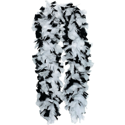 Feather Boa - White & Black