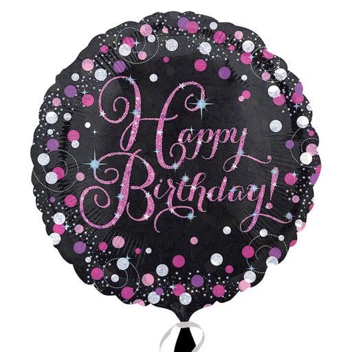 "18"" Foil Happy Birthday Black/Pink Dots - The Ultimate Balloon & Party Shop"