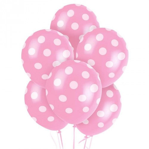 Pink Spotty Balloons 6 Pack - The Ultimate Party Shop