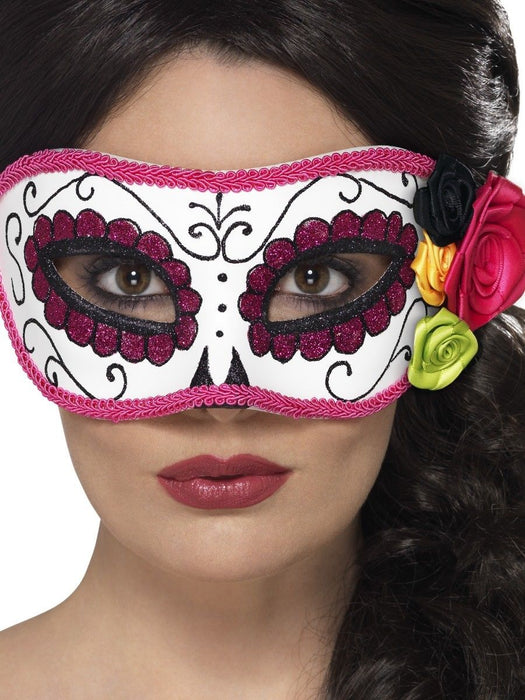 Day Of The Dead Eyemask - Pink/White