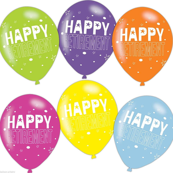 Happy Retirement Asst Colour Balloons 6 Pack - The Ultimate Balloon & Party Shop
